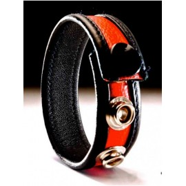 Leather Cockring Black-Red