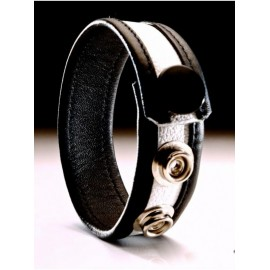 Leather Cockring Black-White