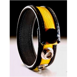 Leather Cockring Black-Yellow