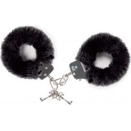 Faux Fur Covered Handcuffs Black