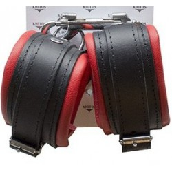Leather BDSM Anklecuffs Black/Red