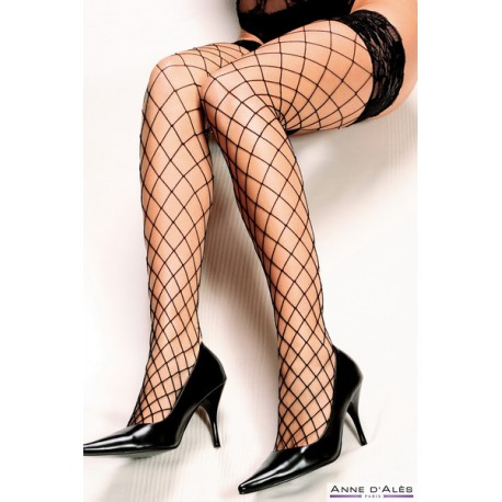 Wide Mesh Fishnet Hold-Up Stockings