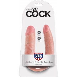 KING COCK MEDIUM DOUBLE TROUBLE DILDO FLESH