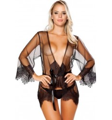 SEXY TRANSPARENT ROBE WITH LACE FINISH BLACK R80757-1