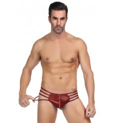 STRING SEXY ZIP ET LANIERES ROUGE BORDEAUX MP068