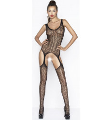 Sexy Crotchless Bodystocking Suspender Belts Effect Black BS043