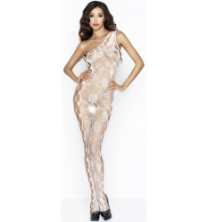 ONE SHOULDER CROTCHLESS BODYSTOCKING WHITE BS036