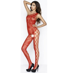 ONE SHOULDER CROTCHLESS BODYSTOCKING RED BS036